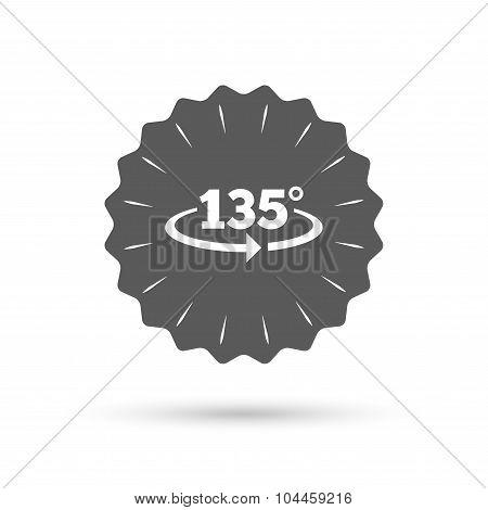 Angle 135 degrees sign icon. Geometry math symbol