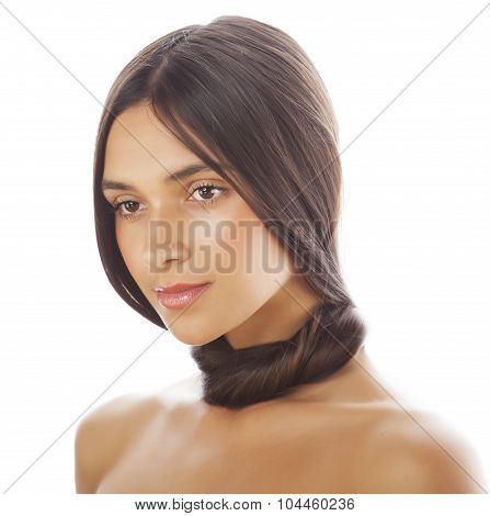 young fresh brunette tann girl with beauty hairstyle isolated on white close up