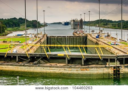 View from the brideg of a ship in the Panama Canal