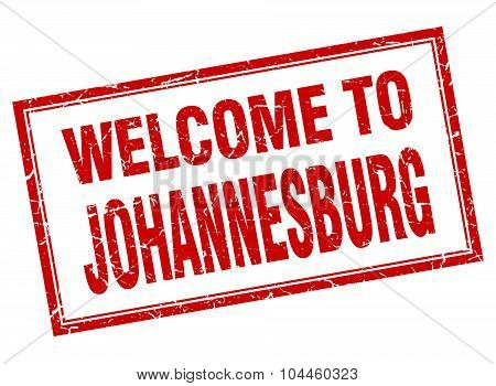 Johannesburg Red Square Grunge Welcome Isolated Stamp