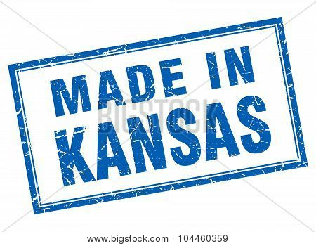 Kansas Blue Square Grunge Made In Stamp