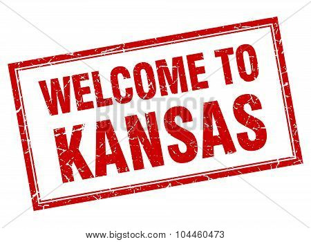 Kansas Red Square Grunge Welcome Isolated Stamp