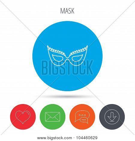 Festive mask icon. Masquerade carnival sign.