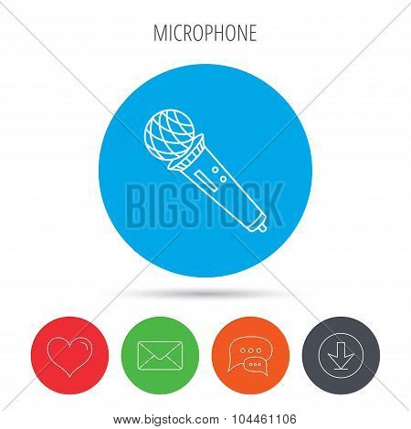 Microphone icon. Karaoke sign.