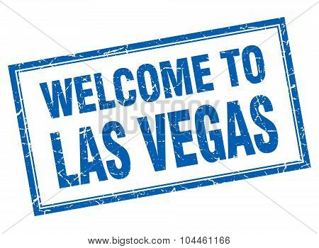 Las Vegas Blue Square Grunge Welcome Isolated Stamp