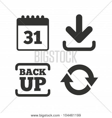 Download and Backup signs. Calendar, rotation