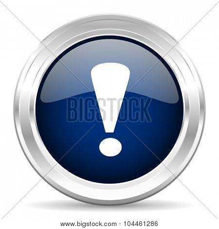 exclamation sign cirle glossy dark blue web icon on white background