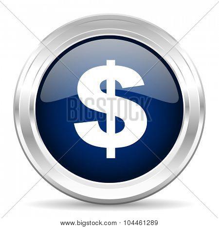 dollar cirle glossy dark blue web icon on white background