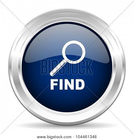 find cirle glossy dark blue web icon on white background