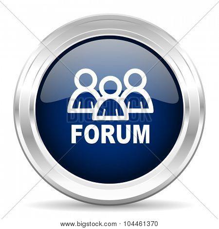 forum cirle glossy dark blue web icon on white background