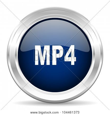 mp4 cirle glossy dark blue web icon on white background