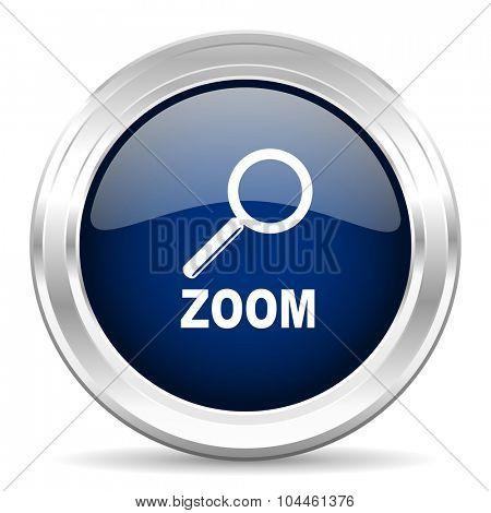 zoom cirle glossy dark blue web icon on white background