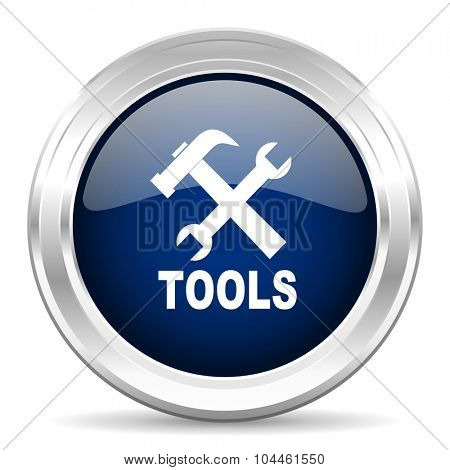 tools cirle glossy dark blue web icon on white background