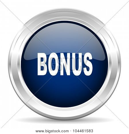 bonus cirle glossy dark blue web icon on white background