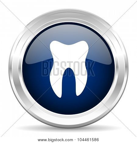 tooth cirle glossy dark blue web icon on white background