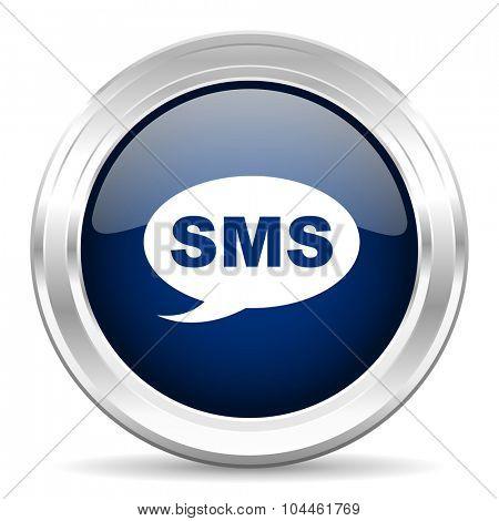 sms cirle glossy dark blue web icon on white background