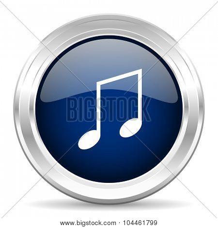 music cirle glossy dark blue web icon on white background