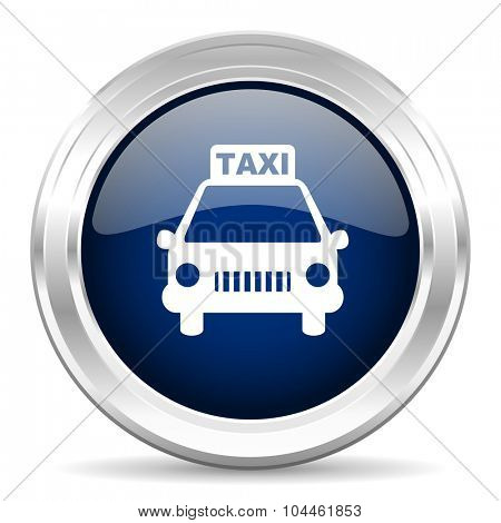 taxi cirle glossy dark blue web icon on white background