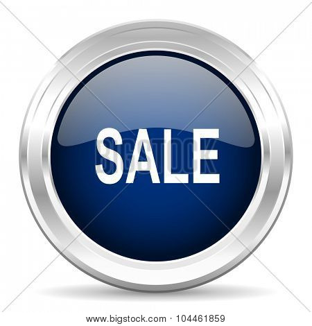 sale cirle glossy dark blue web icon on white background