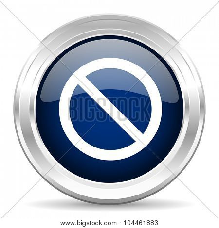 access denied cirle glossy dark blue web icon on white background
