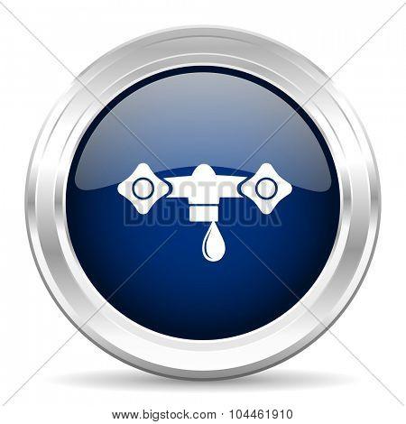 water cirle glossy dark blue web icon on white background