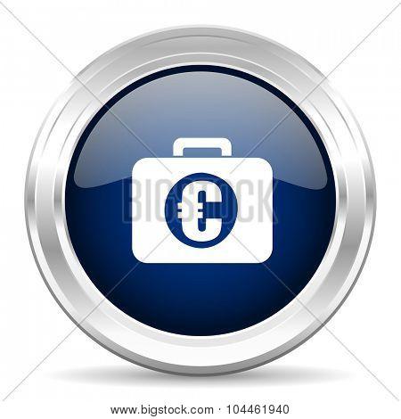 financial cirle glossy dark blue web icon on white background