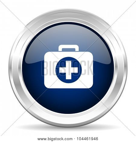 first aid cirle glossy dark blue web icon on white background