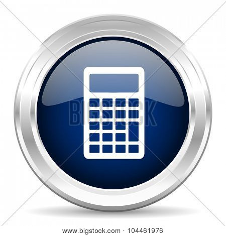 calculator cirle glossy dark blue web icon on white background