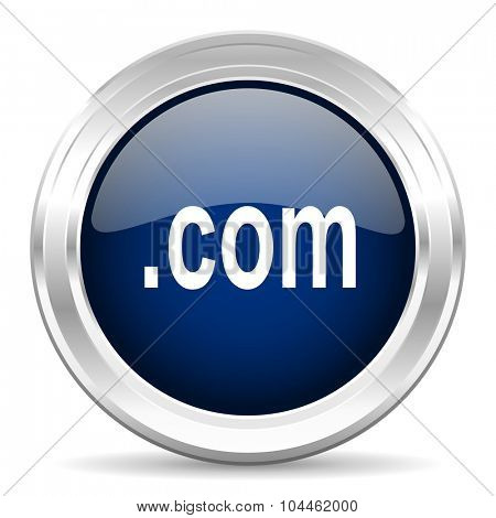 com cirle glossy dark blue web icon on white background
