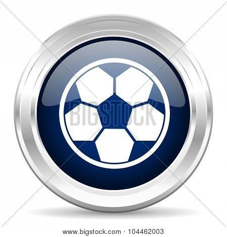 soccer cirle glossy dark blue web icon on white background