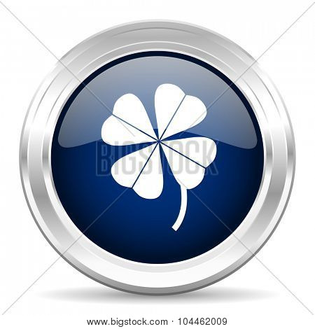 four-leaf clover cirle glossy dark blue web icon on white background