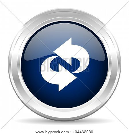 rotation cirle glossy dark blue web icon on white background