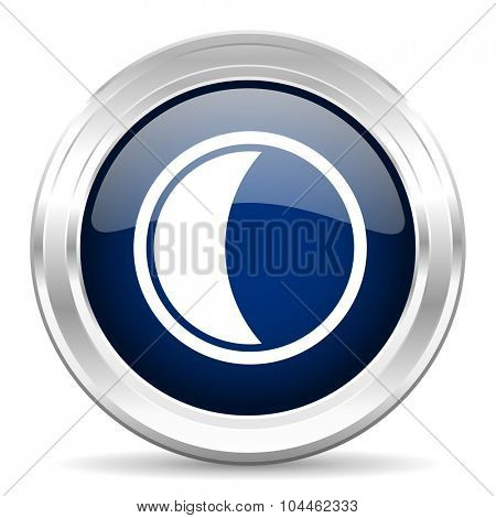 moon cirle glossy dark blue web icon on white background