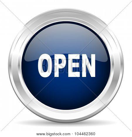 open cirle glossy dark blue web icon on white background