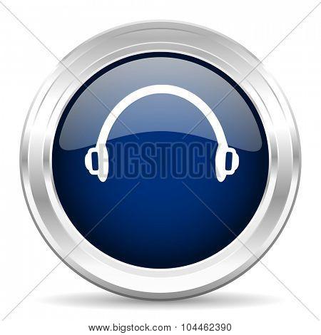 headphones cirle glossy dark blue web icon on white background