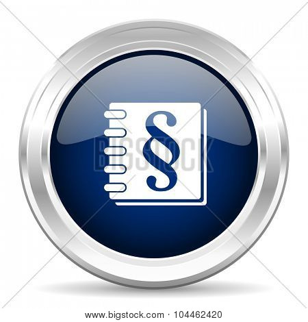law cirle glossy dark blue web icon on white background