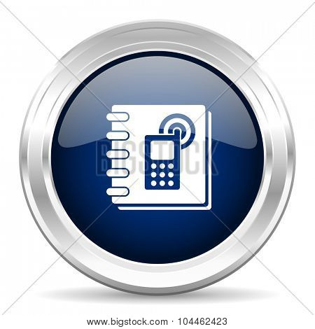 phonebook cirle glossy dark blue web icon on white background