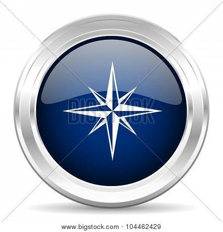 compass cirle glossy dark blue web icon on white background