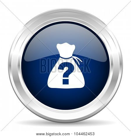 riddle cirle glossy dark blue web icon on white background