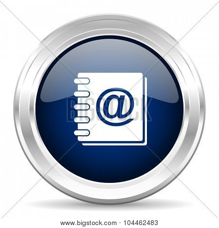 address book cirle glossy dark blue web icon on white background