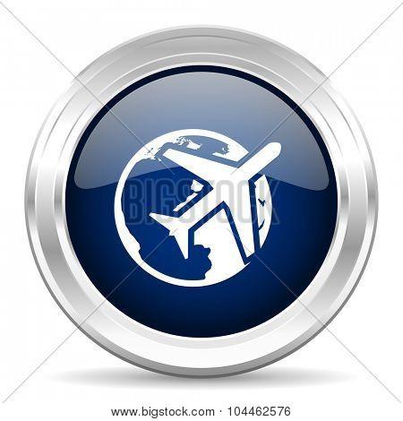 travel cirle glossy dark blue web icon on white background