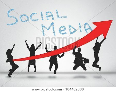 Social media word and red arrow report growth statistics