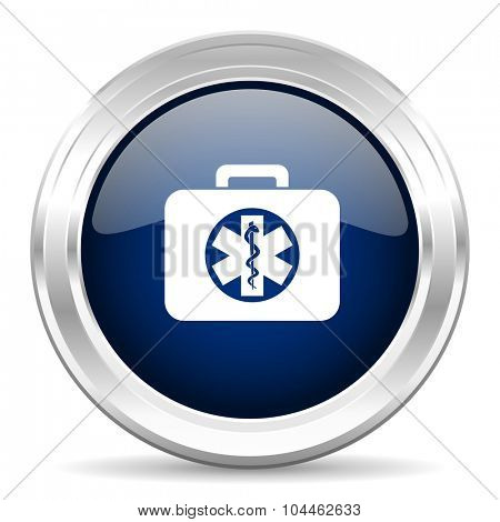 rescue kit cirle glossy dark blue web icon on white background