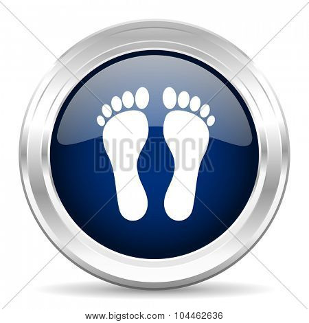 foot cirle glossy dark blue web icon on white background