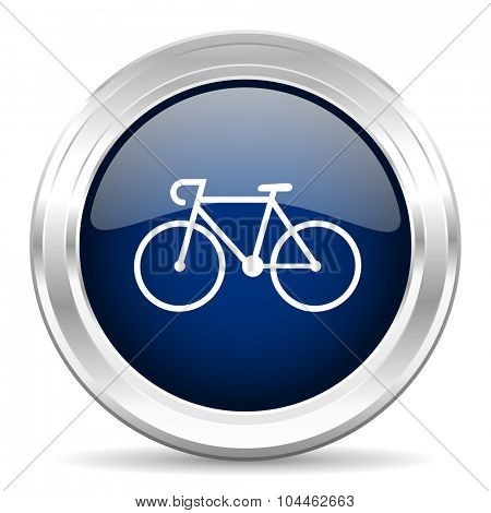 bicycle cirle glossy dark blue web icon on white background