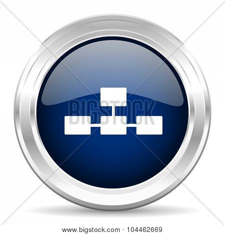 database cirle glossy dark blue web icon on white background