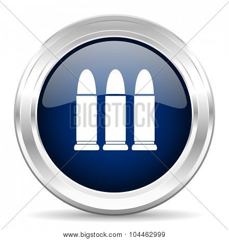 ammunition cirle glossy dark blue web icon on white background