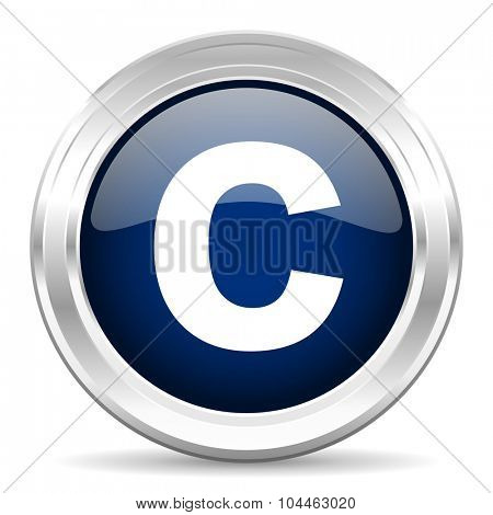 copyright cirle glossy dark blue web icon on white background
