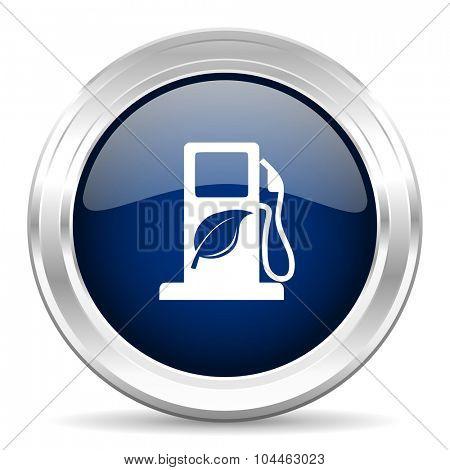 biofuel cirle glossy dark blue web icon on white background