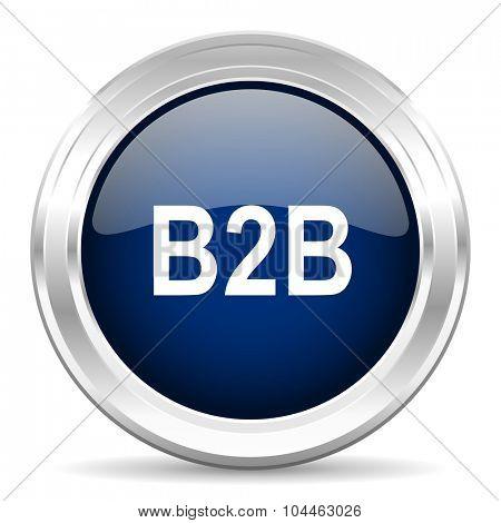 b2b cirle glossy dark blue web icon on white background